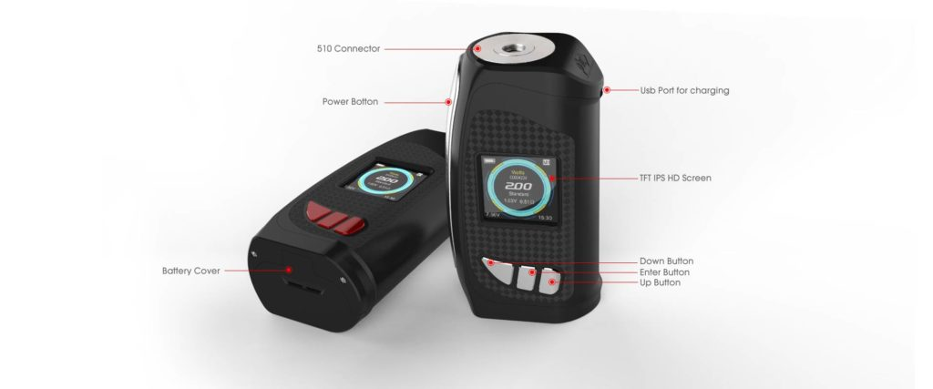 KMG Imports Vape Pioneer4You IPV Eclipse YiHi TFT IPS HD Color Screen 200w Mod Micro USB Charging Port 510 Connector