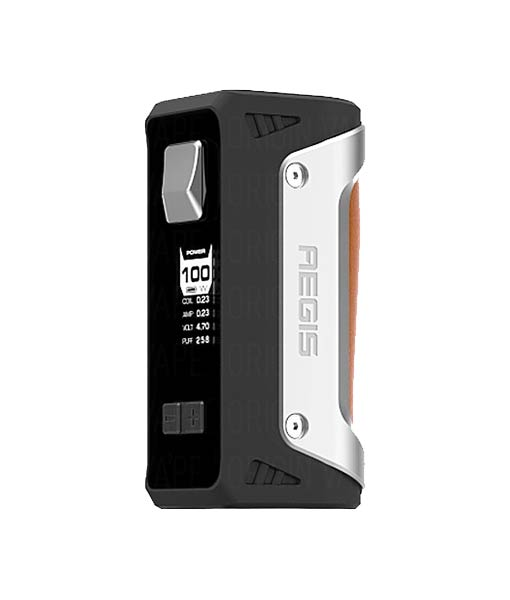 Geek Vape AEGIS 100W Box Mod KMG Imports Vape Mod Tempeture Control Box Mod 100W Maximum Output Wattage Waterproof Shockproof Dustproof Single Battery Silver Brown