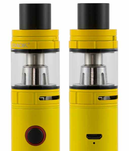 SMOK Stick V8 Baby Kit TFV8 Big Baby Tank 510 Connection KMG Imports in Auto Yellow Front & Back